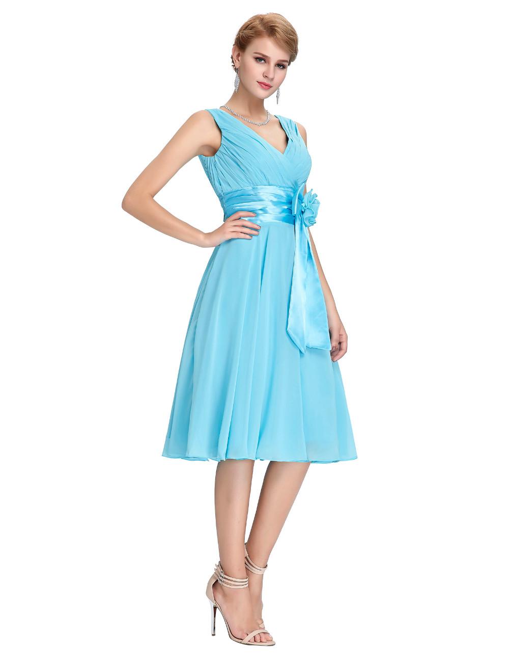 HTB1gl2YMVXXXXXyXFXXq6xXFXXX9Knee Length Short Chiffon Blue Dress