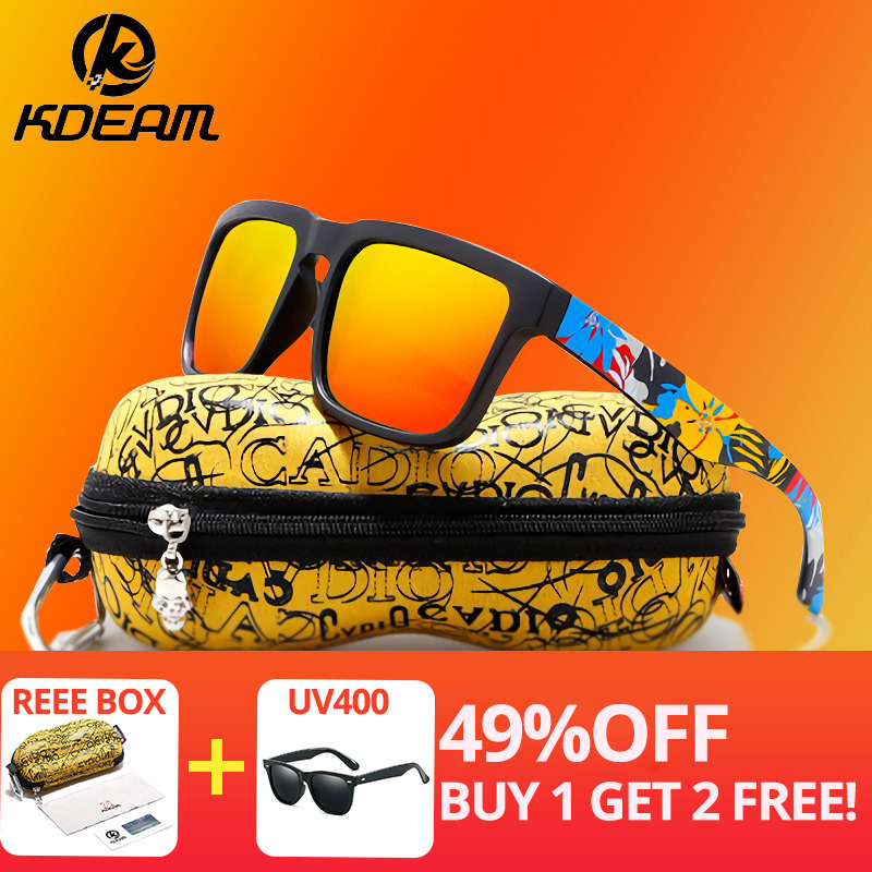 d9100b68498da KDEAM Eye-catching Função Polarizada Óculos De Sol Para Homens Marca  Grafite Perna Óculos Óculos