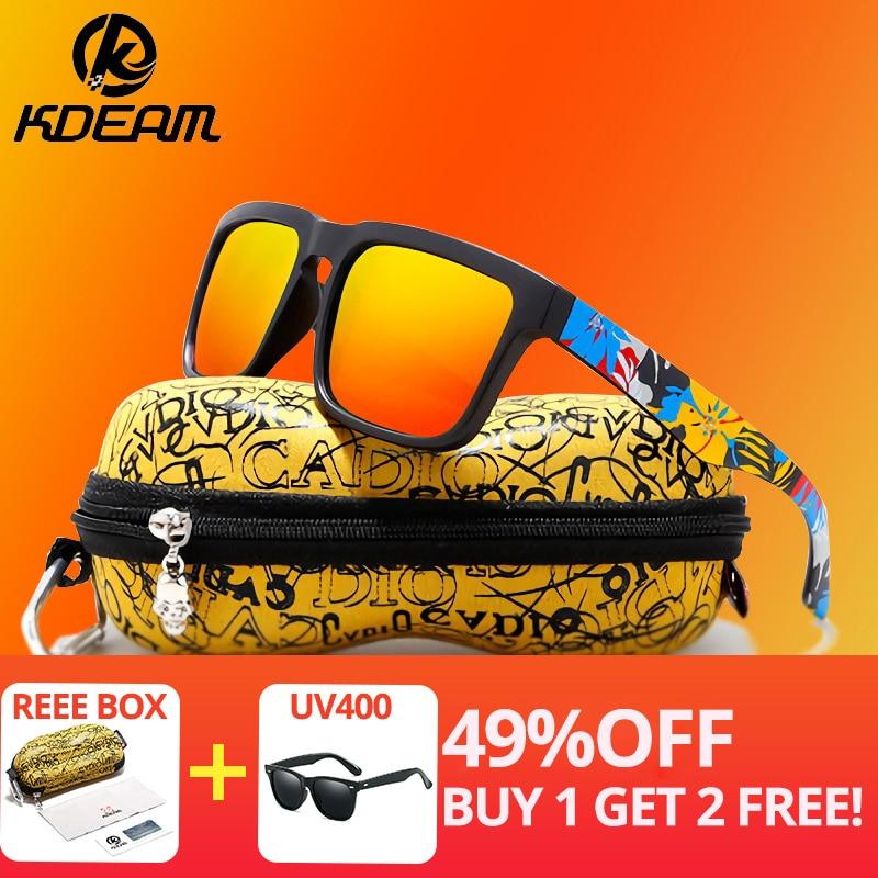KDEAM Eye-catching Function Polarized Sunglasses For Men Brand Graffiti Glasses Leg Sun Glasses UV Goggles Male Gafas De Sol XH2(China)