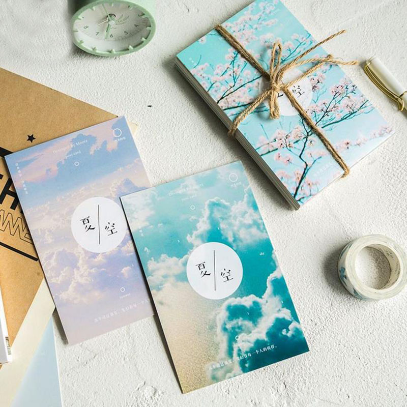 30Sheets/Pack Cute Summer Sky Greeting Cards Postcards Birthday Letter Business Gift Card Set Message Card 60 x cards kraft envelopes stickers set season 4 dessert mini postcards as festival greeting cards