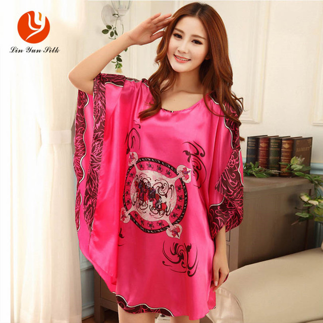 LIN YUN Rayon Nightgown For Women Loose Large Yards Sleepshirts Faux Silk  Sleepwear Print Lounge Wear Tops Female Homewear 634129875