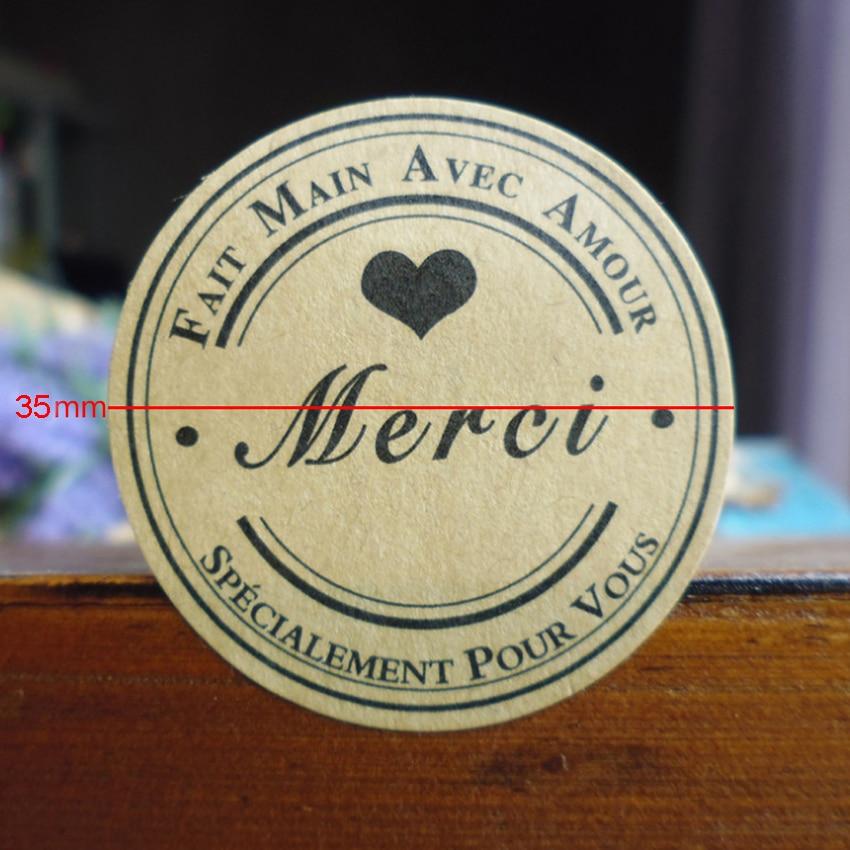 120PCS/lot Round Black Heart Merci Self-adhesive Sealing Sticker Kraft Paper Gift Sealing Labels DIY Gifts Scrapbooking Sticker