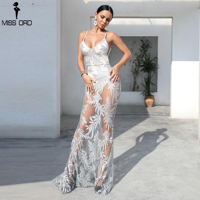 Missord 2018 Sexy  Women  V-Neck Long Sleeveless Sequin Dress  See Through   Maxi Elegant Dress FT18406-2