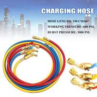 3pcs 600PSI Charging Hoses 60'' HVAC 1/4'' SAE Shut Valve for AC Refrigerant R134a R410a Car Air conditioning Valve Hose Kit