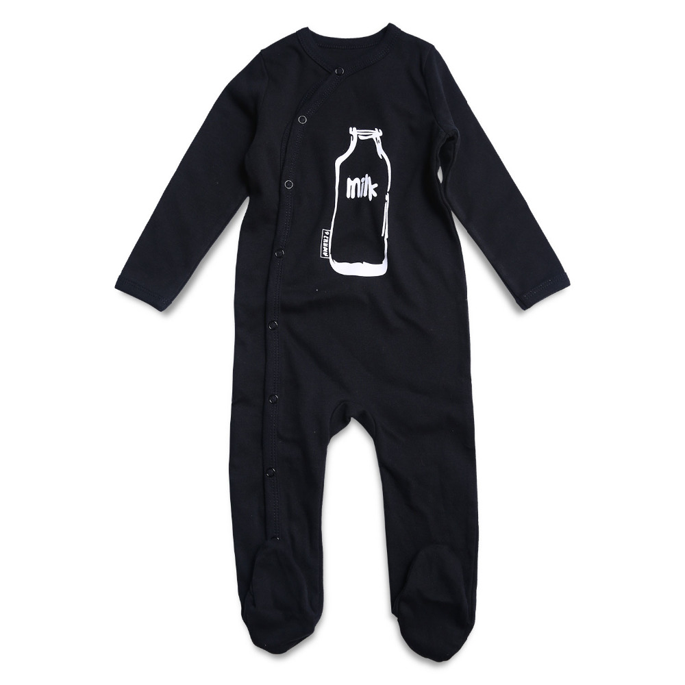 Newly Black Baby Rompers Newborn Baby Boy Clothes Cotton Long Sleeve Infant Jumpsuit Baby Clothing Baby Footed Pajamas Printed