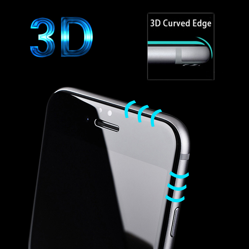 3D Round Curved Edge Tempered Glass For iPhone X 8 7 6 10 Plus Full Cover Protective Premium Screen Protector Film Safety Case image