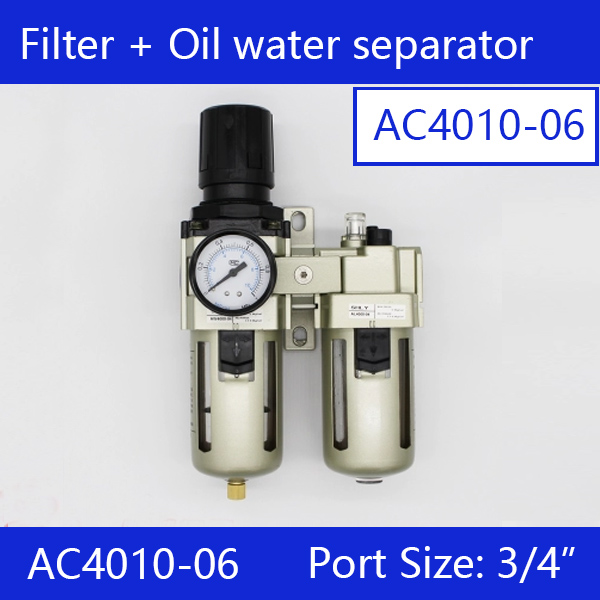 Free shipping Pneumatic AC4010-06 Air Filter Regulator Lubricator Combination F.R.L 1/2 bsp Two Union AW4000-06 + AL4000-06Free shipping Pneumatic AC4010-06 Air Filter Regulator Lubricator Combination F.R.L 1/2 bsp Two Union AW4000-06 + AL4000-06
