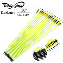 30 Inch 12 Pcs Yellow Carbon Arrow Black Yellow Feather Replaceable Arrow For   Composite Bow Hunting Arrows Archery 12pcs 30inch high quality yellow rod carbon arrow yellow black feather composite recurve hunting shot yellow rod carbon arrow
