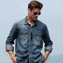 2017 neu kommen herbst wasser waschen vintage jeanshemd männlichen reiner baumwolle lose langarm freizeithemd