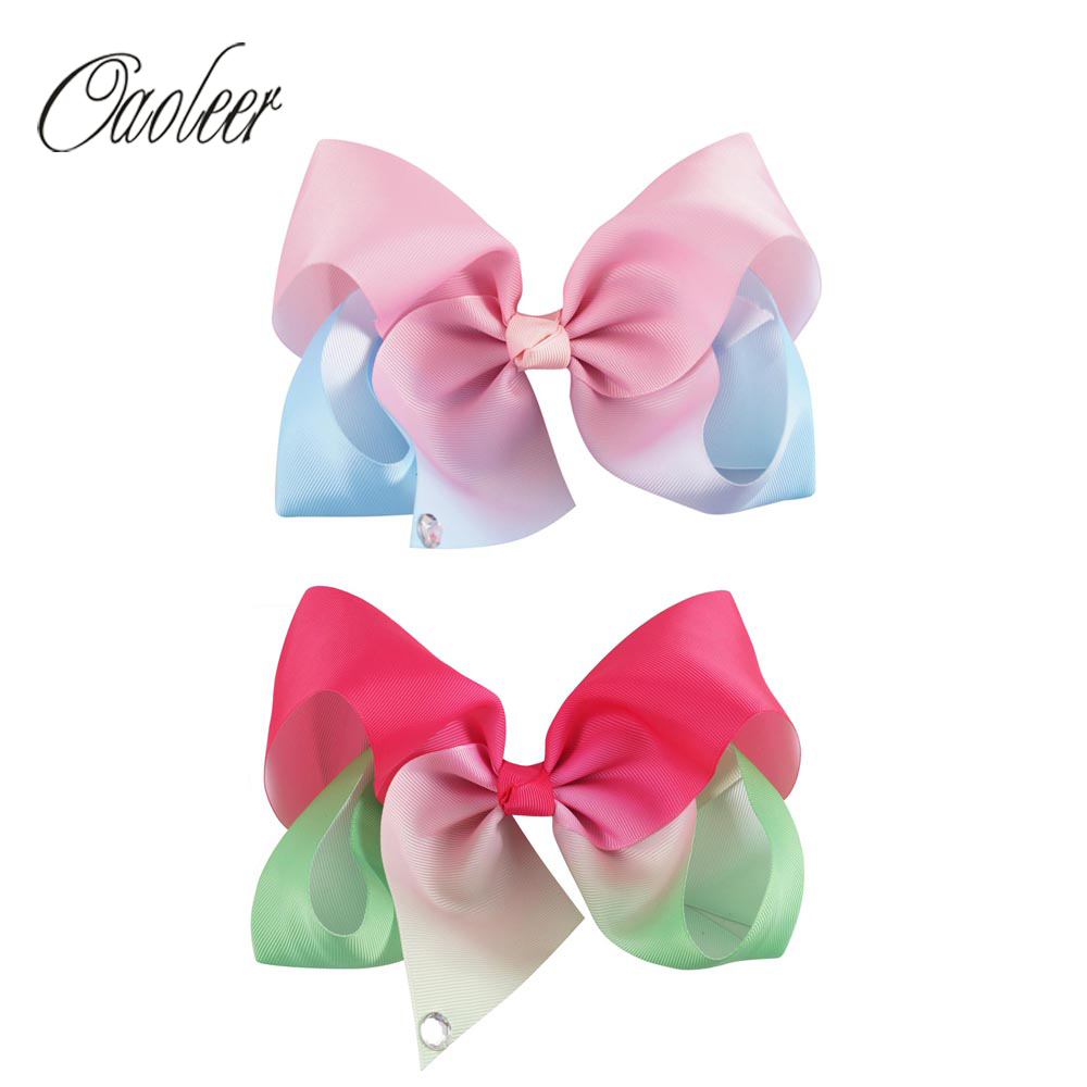 4pcs/lot 7 Large Light Color Grosgrain Ribbon Hair Bow Tail With Rhinestone Teens Girls Hairpin Hair Accessories