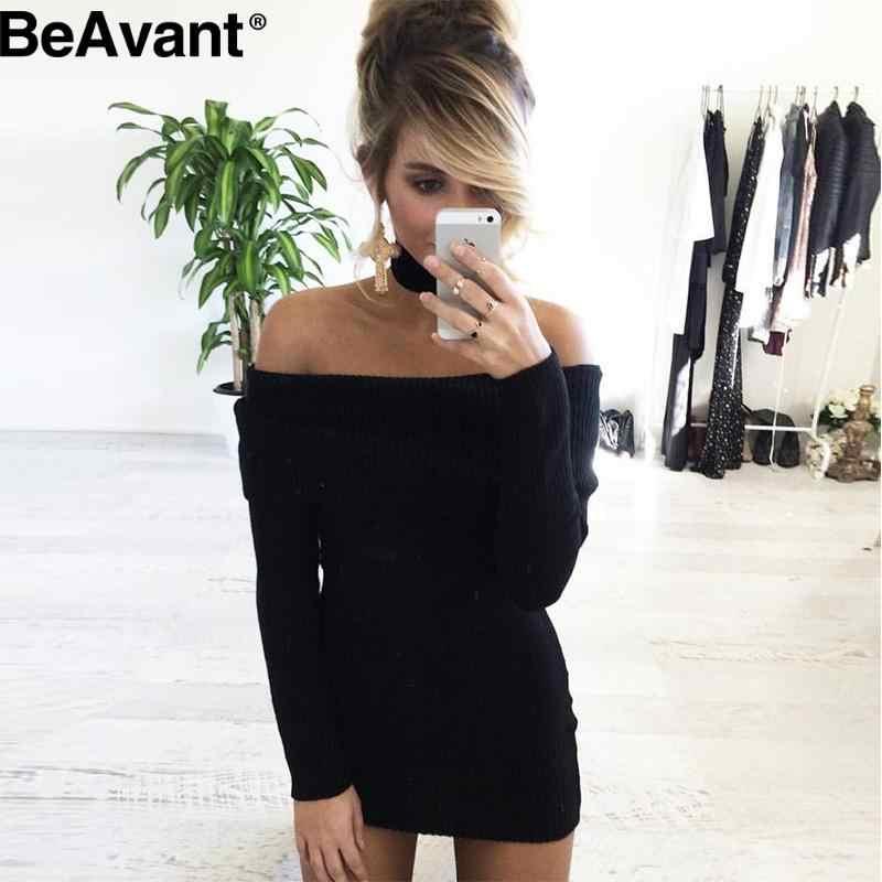 b6d6778018c1 ... BeAvant Winter off shoulder knitted bodycon dress Women long sleeve  autumn sexy dress Party short white ...