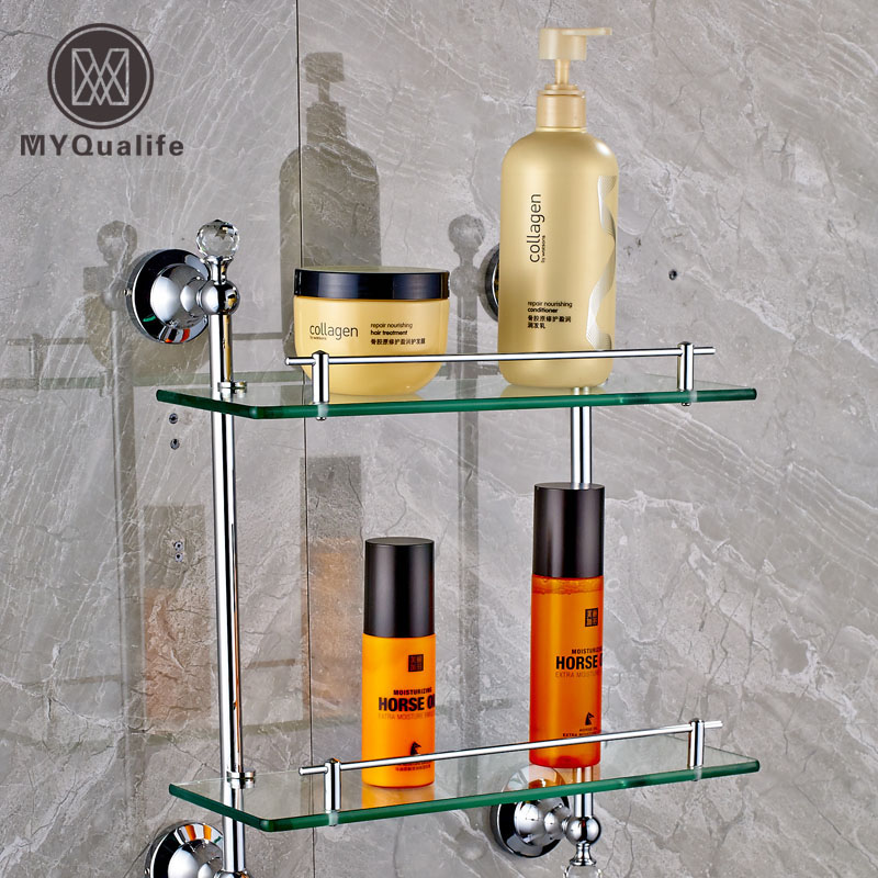 Wall Mounted Double Tiers Glass Bathroom Commodity Shelf Chrome Brass with Cristal Storage Holder инструменты для выпечки ali commodity cookie