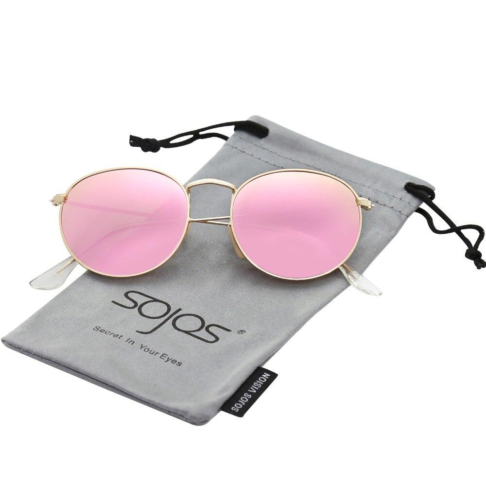 33acffcdfd SOJOS Retro clásico gafas de sol de metal estilo redondo mate oro marco de  plata flash