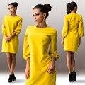 Офисное платье 2016 летний стиль женщины платья желтый свободного покроя элегантный длинным рукавом Большой размер женской одежды роковой Vestidos