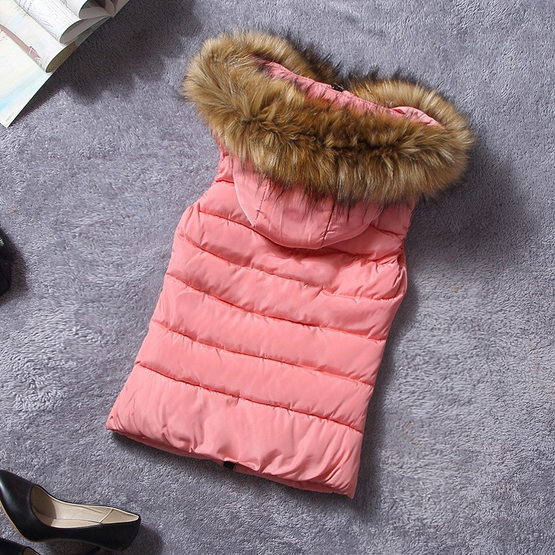 down vest with fur 0W0125 pink-1