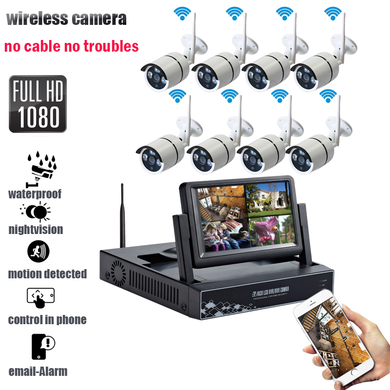 CCTV camera security system kit 8CH IR 2MP Video surveillance wireless camera system 1080P HD Waterproof camera NVR 7 HD screen