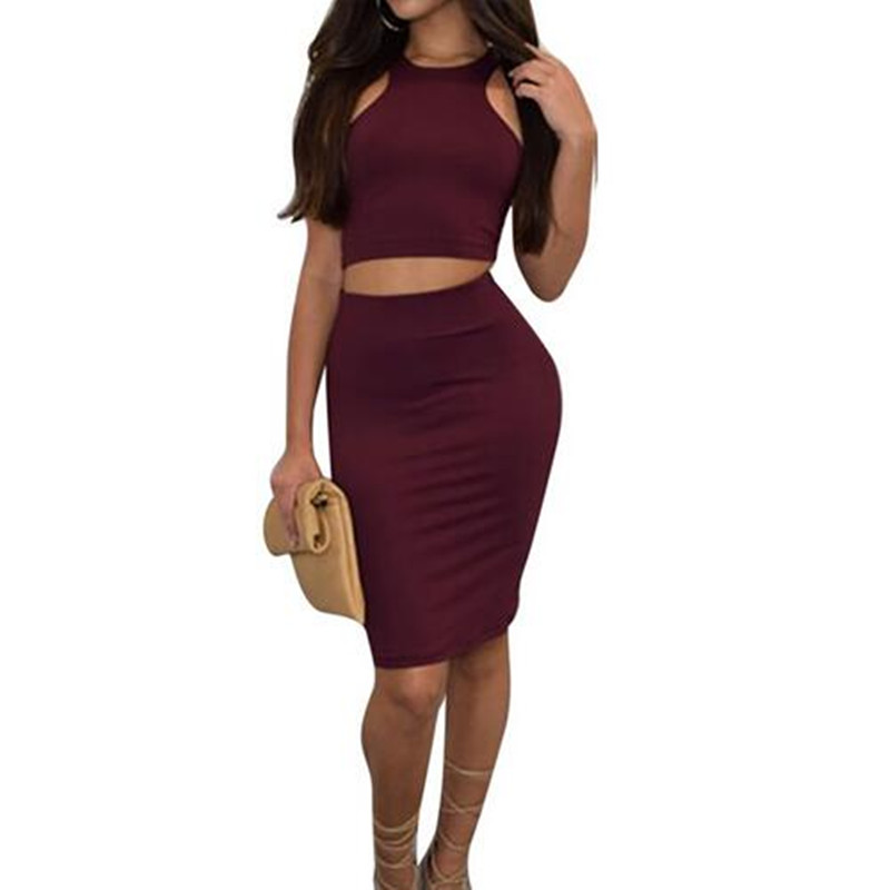 Women Club Two Piece Skirt Set New Summer Outfits High Elastic Sexy Sleeveless Wine Red Crop