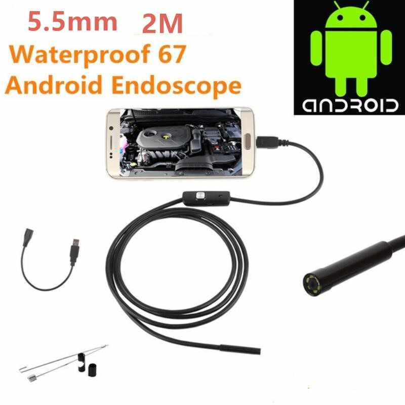720P Buis Endoscoop 5.5mm 2M Micro USB HD Camera Borescope Inspectie Voor PC Android Telefoon IP67 Waterdicht scope 6 Witte LEDs
