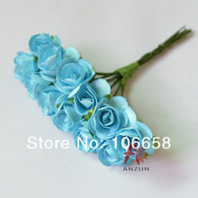 144pcs 2cm Artificial Paper Flower DIY Card and Gift Box Rose Flower Bouquet light blue(China)