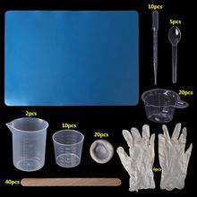 1 Set Epoxy Resin Kit Disposable Gloves Finger Measurement Cup Dropper Pad Jewelry Necklace Making Tools Handmade Accessories