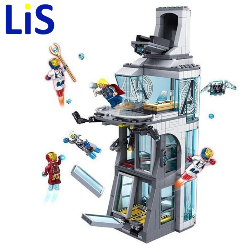 (Lis)7114 511Pcs Marvel Super Hero Iron Man Attack On Avenger Tower Model model Building kit block set Block Brick gift Toy camelion c 5318