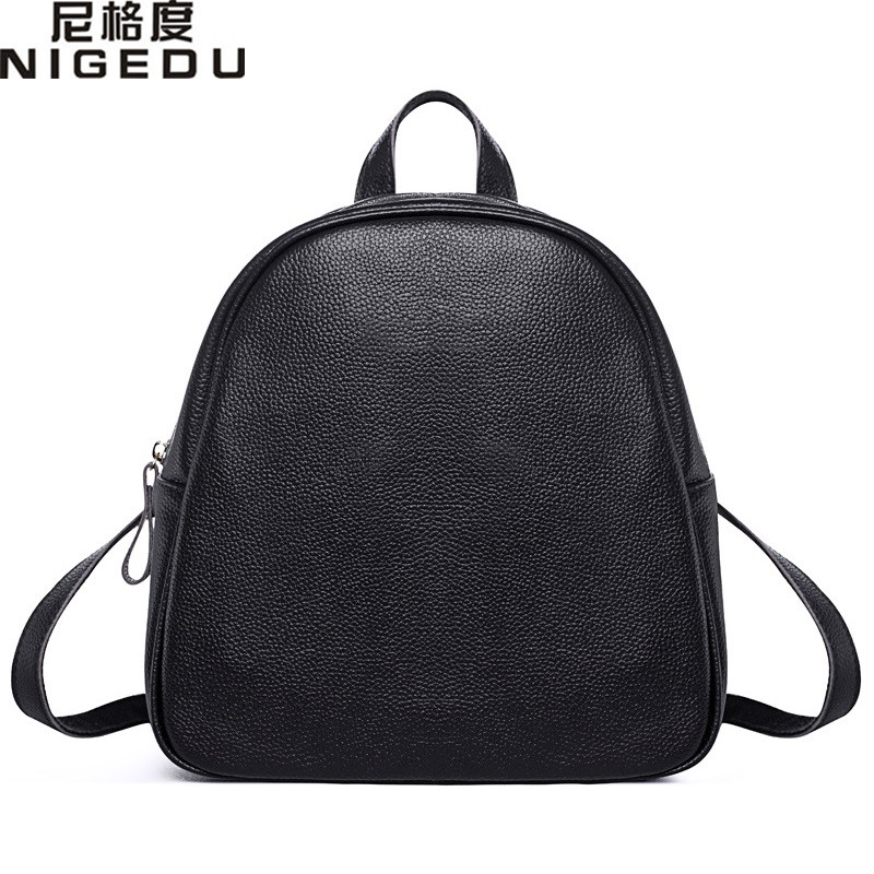 NIGEDU Genuine Leather Backpacks Women Cowhide kanken Fashion School Backpack For Girls Mochila Brand Designer Shoulder Bags 2016new rucksack luxury backpack youth school bags for girls genuine leather black shoulder backpacks women bag mochila feminina