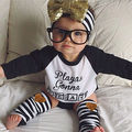 2016 Baby Kids Girls Boys Long Sleeve Letter Printed Play Top T-shirt +Stripe Leggings Anklets Outfits Clothes Sets 0-4Y