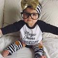 2016 bebés niños niñas niños carta de manga larga impreso juego de la camiseta + Stripe polainas tobilleras trajes sistemas de la ropa 0-4Y