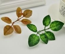Искусственные зеленые листья розы для сада diy венок Рождественский Лист Свадебный букет украшение шелковая листва ремесло