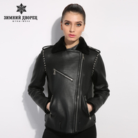 Черный натуральная Кожа женщины шуба Street style женщины зимняя куртка Женская кожа овчины пальто Короткий параграф лацкан
