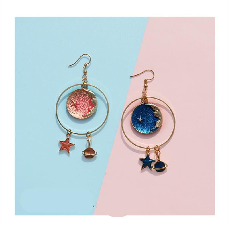Doreen Box Fashion Women Drop Earrings Gold Color Round Circle Blue Light Orange Moon Star Pendants Romantic Earrings,1 Pair