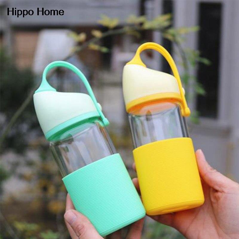 Hipopótamo Casa Creativa Portable de Los Deportes Botella de Agua de Cristal Fun