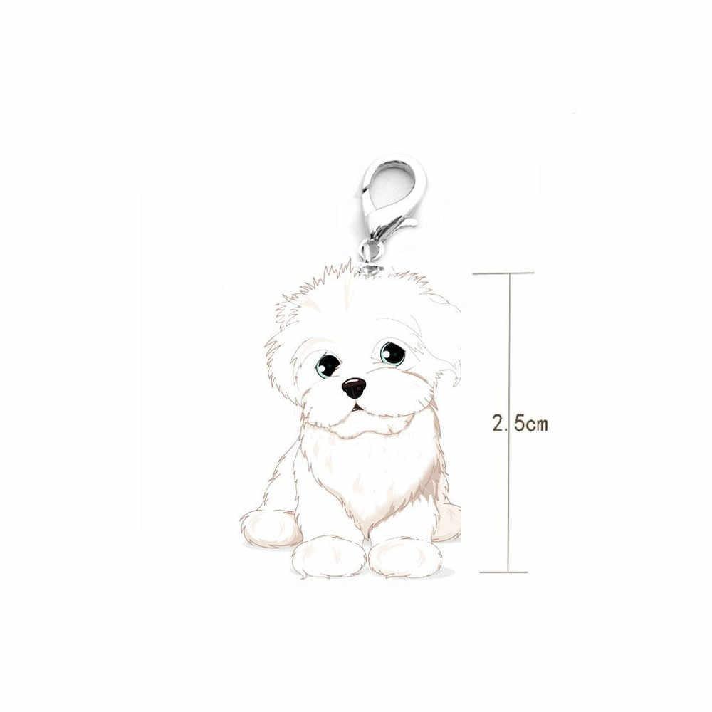 الكلب علامة القرص القرص الحيوانات الأليفة ID المينا اكسسوارات Bichon Frise طوق قلادة قلادة 25 مللي متر أطواق للحيوانات الأليفة قلادة الموضة وجميلة