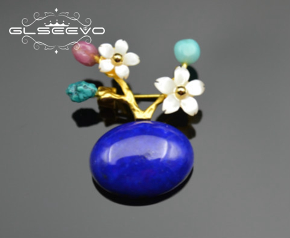 GLSEEVO Natural Stone Lapis Lazuli Turquoise Brooch Pin Mother Of Pearl Flower Brooches For Women Dual Use Luxury Jewelry GO0155 glseevo natural lapis lazuli flower brooch pins and brooches for women accessories birthday gifts dual use luxury jewelry go0183