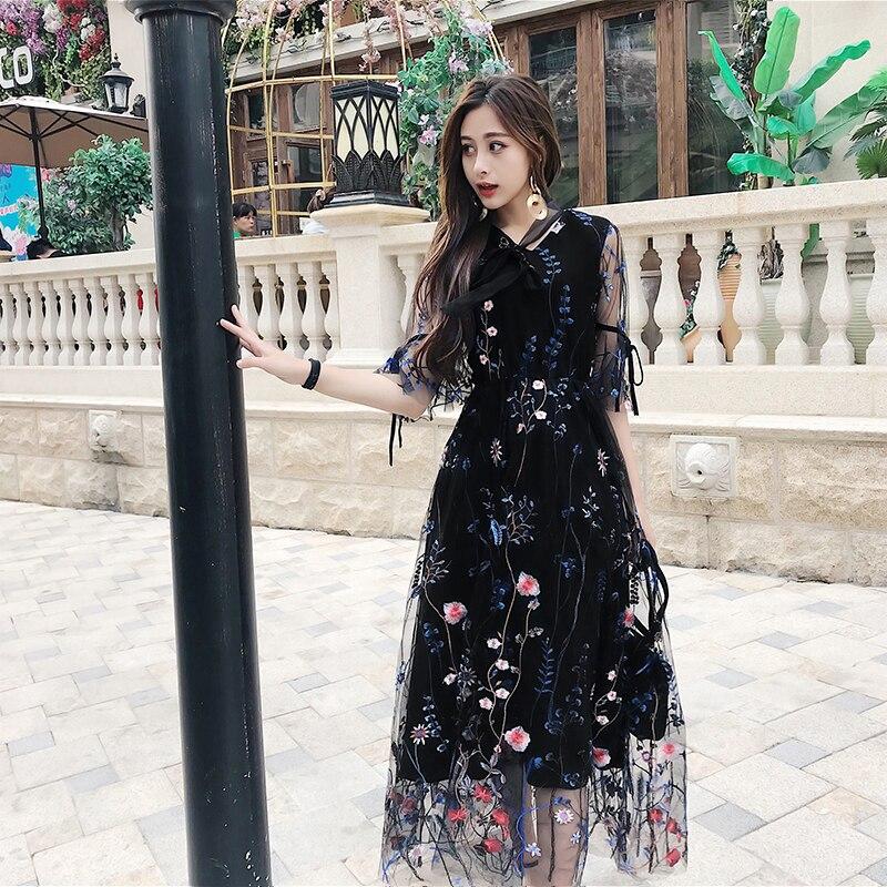 2018 Nouvelle Femme Robe de Plage Balnéaire de Vacances À Manches Courtes Robe Rétro Broderie Mince Fée Longue robe