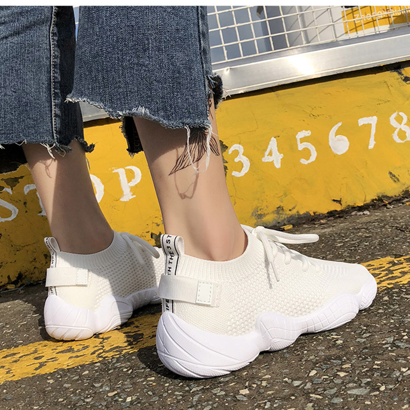 HTB1gl46RyrpK1RjSZFhq6xSdXXa1 Women Mesh Spring Sneakers Ladies Lace Up Stretch Fabric Platform Flat Vulcanized Casual Shoes Female Breathable Fashion