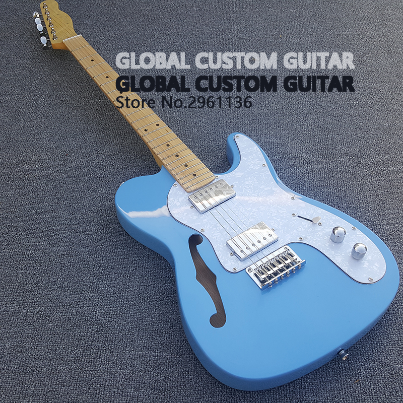 with s hole high quality tl guitar electric guitar blue body 6 strings guitars real photos. Black Bedroom Furniture Sets. Home Design Ideas