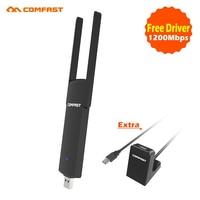 2017 comfast potente controlador libre mini WiFi 1200 Mbps 2.4g + 5.8g AC adaptador USB inalámbrico puede coincidir USB3.0 extensión uso base