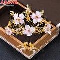 Невеста головной убор цветы сад Корона Серьги Набор свадьба невеста аксессуары для волос в Японии и Южной Корее