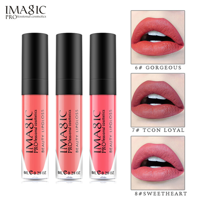 IMAGIC יופי מאט נוזלי שפתון קרם לחות Lipgloss ארוך טווח מקסים שפתיים מבריק קוסמטיקה יופי איפור 17 צבעים