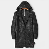 Mens Leather Jacket Hooded Long Vintage Genuine Leather Trench And Coat Real Suede Leather Jacket Slim Black Hood Leather Coat