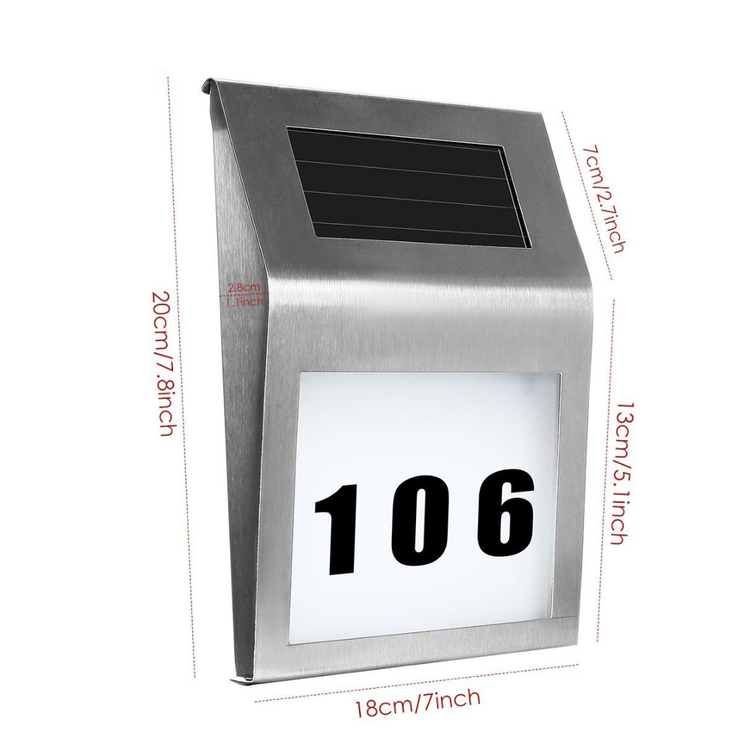1pcs Solar Powered House Hotel Door Address Plaque Number Digits Plate LED Light Sign Solar Lighting Mayitr ouneed happy home 1pc solar light solar power led light sign house hotel door address plaque number digits plate