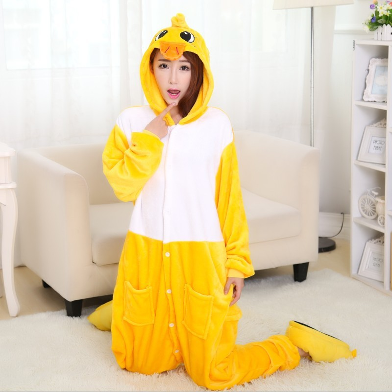 Unisex Adult Onesie Animal Yellow Duck Pajamas Cosplay Costumes Homewear
