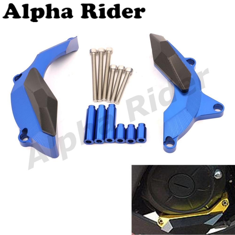 Motorcycle CNC Engine Case Stator Cover Clutch Guard Crash Pad Slider Frame Protector for Yamaha YZF R25 R3 2014 2015 2016 Blue for yamaha yzf r25 yzf r25 2013 2015 yzf r3 yzf r3 2015 2016 motorcycle frame slider engine stator case guard cover protector