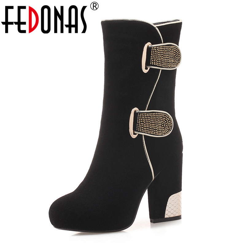 FEDONAS Top Quality Women Mid-calf Boots Fashion Autumn Winter Rhinestone Platforms Party Wedding Shoes Woman High Boots fedonas lace up boots 2019 fashion thick heel mid calf boots women high heels autumn winter shoes woman platforms boots