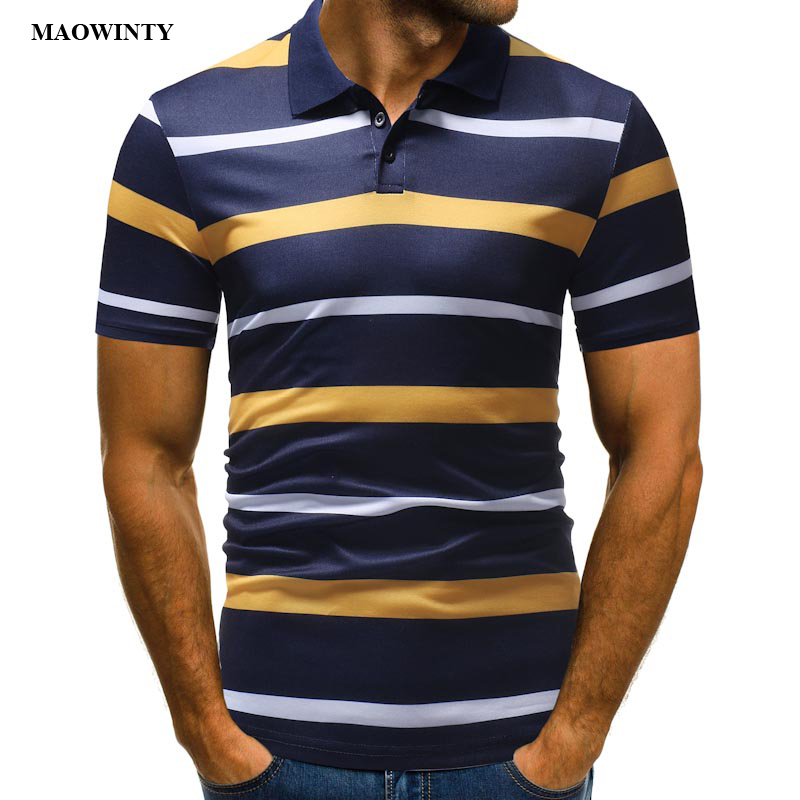 Striped   Polos   Casual Tees Slim Fit Men Tops Men 2019 New Fashion Cotton Turn-down Collar Short Sleeve Basic Pullover Tee
