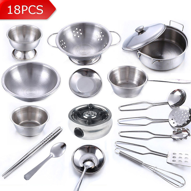 18pcs stainless steel children kitchen toys miniature cooking set simulation tableware toy. Black Bedroom Furniture Sets. Home Design Ideas