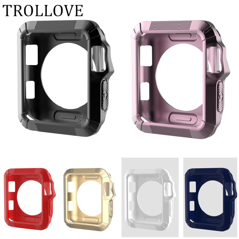 TROLLOVE Slim Rugged Protective Frame Soft Silicon TPU Case for Apple Watch Series 1 2 3 38mm 42mm Cover Bumper Protector Cases стоимость