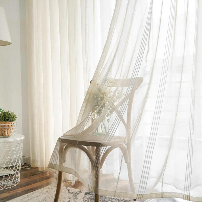 Huayin Velvet Linen Curtains Tulle Window Curtain For: Stripe Linen Sheer Tulle Curtains For Living Room Modern
