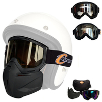 Motorcycle Detachable Modular Mask Goggles And Mouth Filter for Motorcycle Helmet